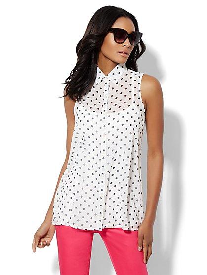 Sleeveless Tunic Blouse - Polka-Dot Print  - New York & Company