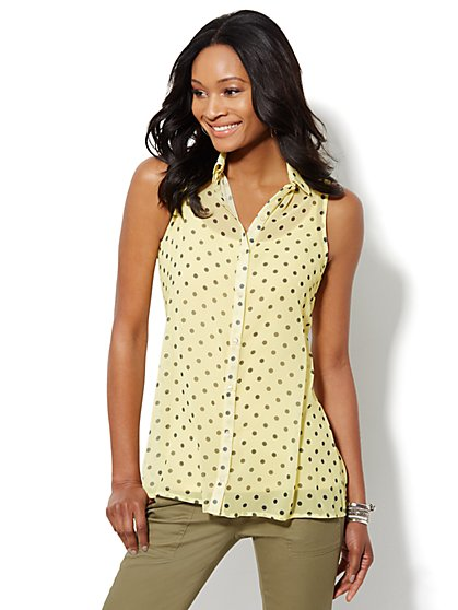 Sleeveless Tunic Blouse - Polka-Dot Print  - New York & Company