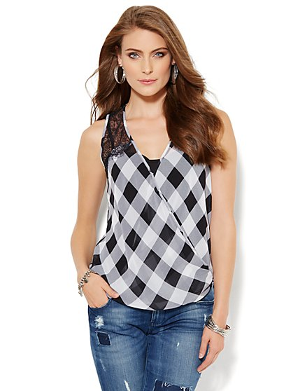 Sleeveless Wrap Blouse - Lace & Gingham - New York & Company