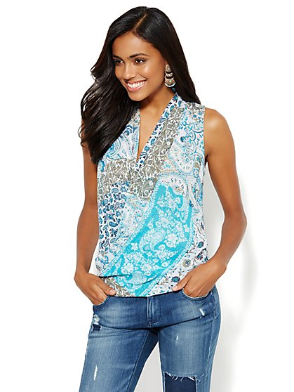 Sleeveless Wrap Blouse - Multi Paisley  - New York & Company
