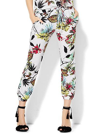 Slim-Leg Jogger - White - Tropical Print  - New York & Company