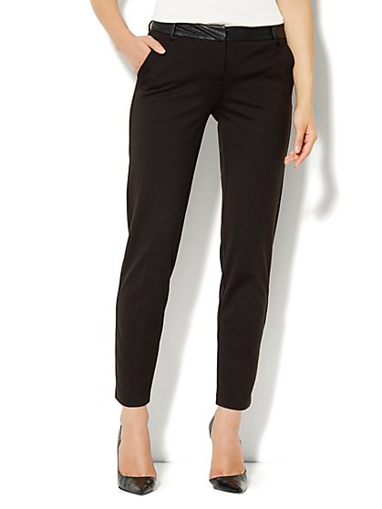Slim Leg Trouser Pant - Faux-Leather Trim - New York & Company