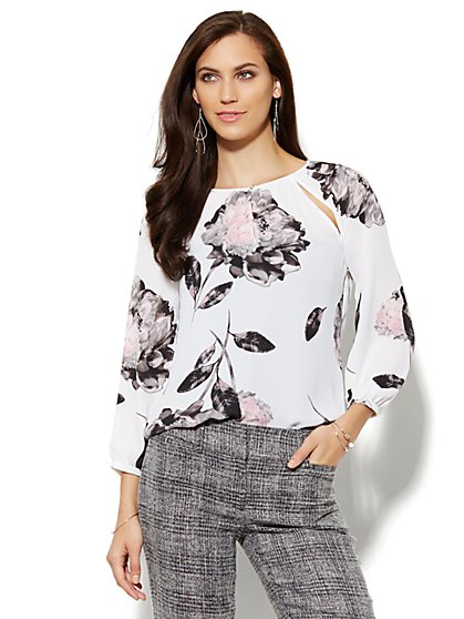 Slit-Detail Blouse - Floral  - New York & Company