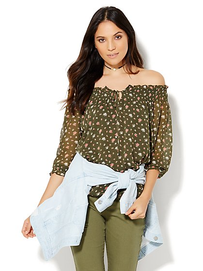 Smocked Bubble-Hem Blouse - Floral  - New York & Company