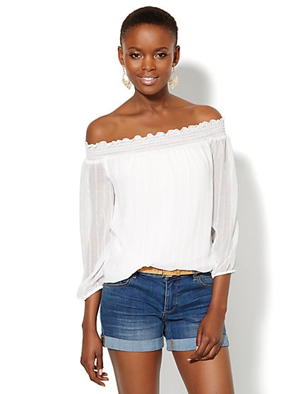 Smocked Chiffon Peasant Blouse  - New York & Company