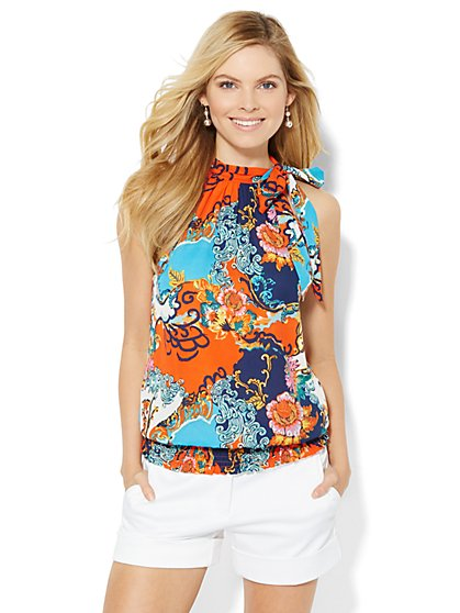 Smocked Halter Bow Blouse - Print  - New York & Company