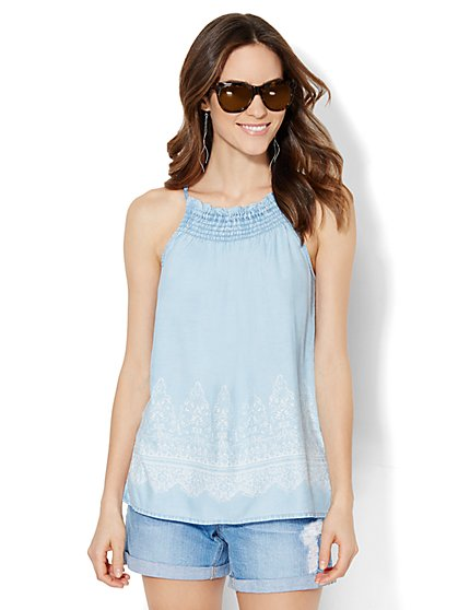 Smocked Halter - Ultra-Soft Chambray  - New York & Company