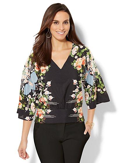 Smocked Kimono Blouse - Floral - New York & Company