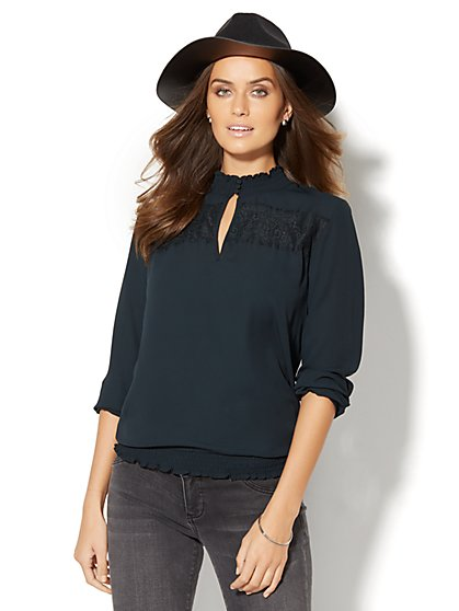 Smocked Lace-Trim Blouse  - New York & Company