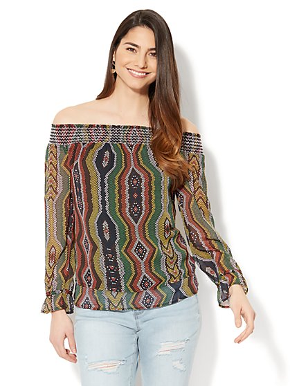 Smocked Off-The-Shoulder Blouse - Circular Print - New York & Company