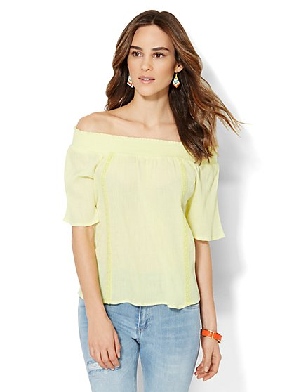 Smocked Off-the-Shoulder Blouse - Solid - New York & Company