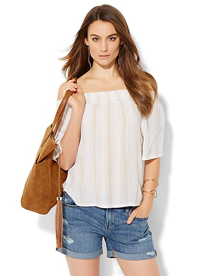 Smocked Off-the-Shoulder Blouse - Stripe - New York & Company