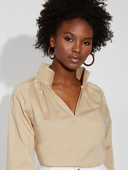 Smocked Poplin Shirt - Gabrielle Union Collection - New York & Company