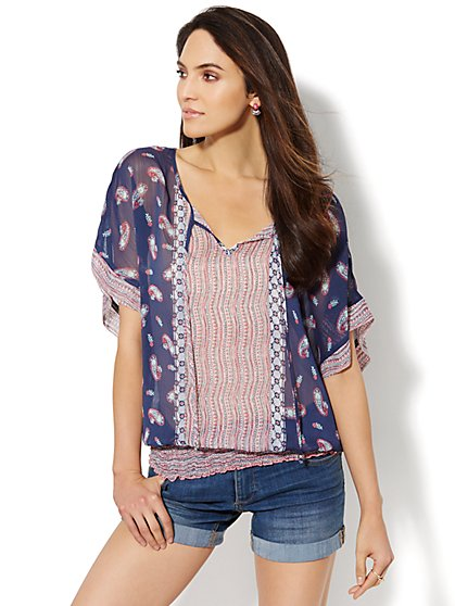 Smocked Split-Neck Blouse - Paisley  - New York & Company