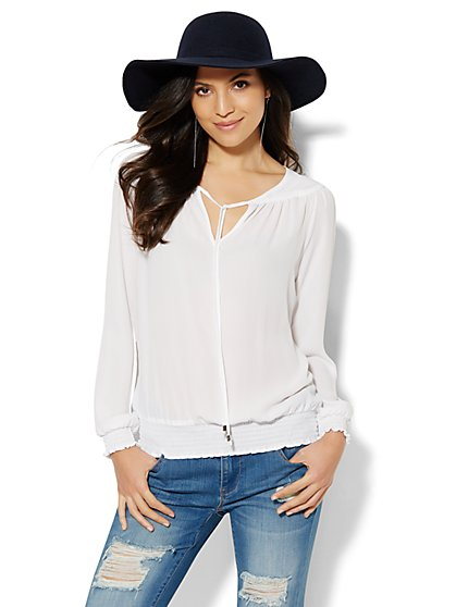 Smocked Split-Neck Blouse - Solid  - New York & Company
