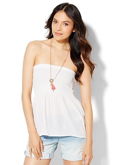 Smocked Tube Top - Paper White  - New York & Company