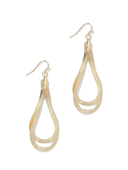 Snake Chain Double Teardrop Earring  - New York & Company