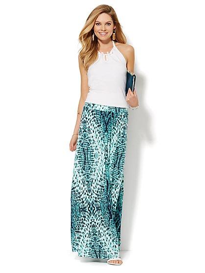 Snake-Print Maxi Skirt - Petite  - New York & Company