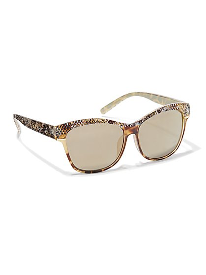 Snakeskin-Trim Sunglasses