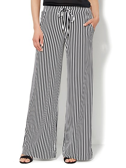 Soft Drawstring Palazzo Pant - Striped  - New York & Company