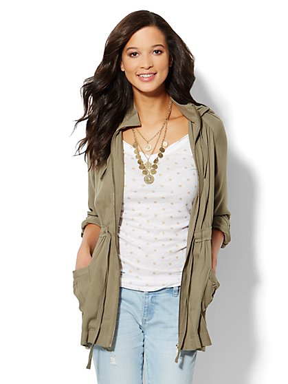 Soft Hooded Drawstring Jacket  - New York & Company