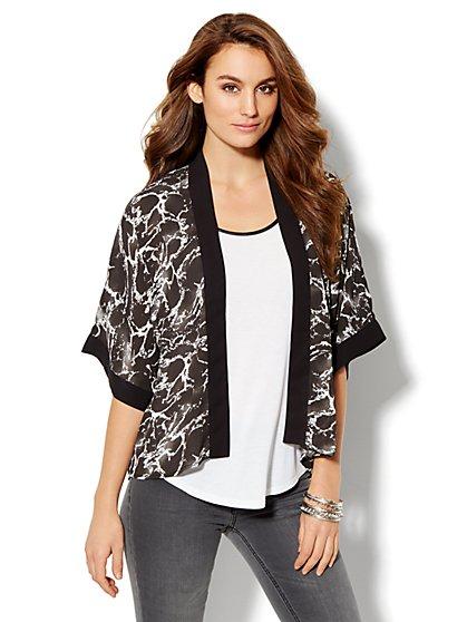 Soft Kimono Jacket - Marble-Print - New York & Company
