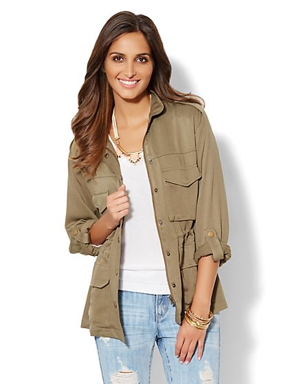 Soft Military Roll-Sleeve Jacket - New York & Company