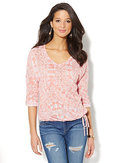 Soft Textured Floral Drawstring Top - New York & Company