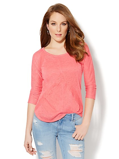 Soft Textured Lace-Trim Top - New York & Company