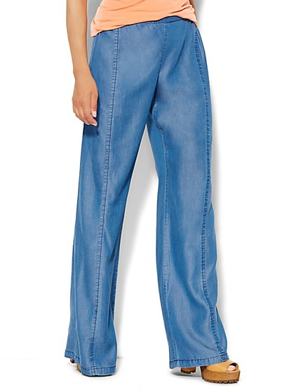 Soft Wide-Leg Pant - Indigo Blue Wash  - New York & Company