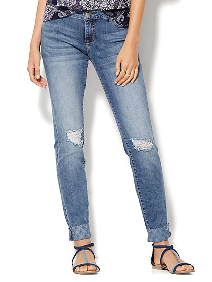 Soho Embroidered Cuff & Destroyed Relaxed Boyfriend Jeans - Indigo Blue Wash  - New York & Company