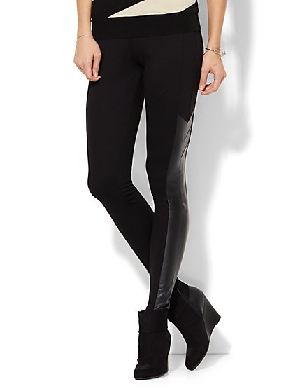 Soho Faux-Leather Chevron Legging - New York & Company