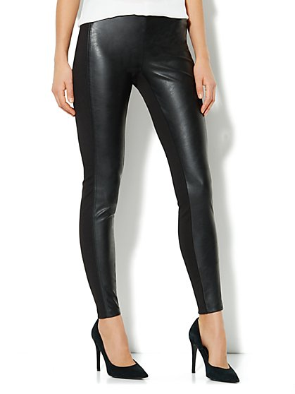 Soho Faux-Leather Panel Legging  - New York & Company