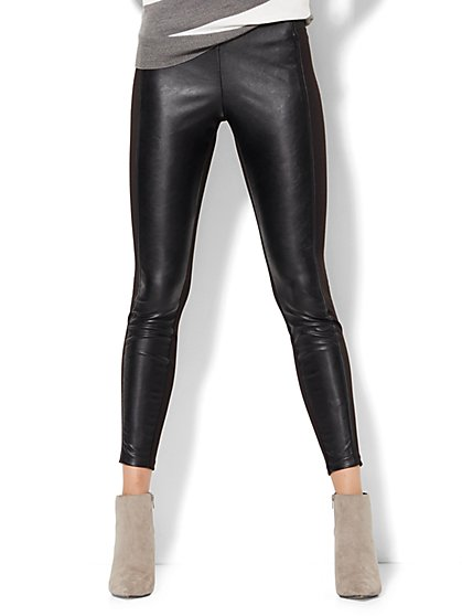 Soho Faux-Leather & Ponte Legging  - New York & Company
