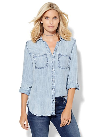 Soho Hi-Lo Soft Shirt - Ultra-Soft Chambray - White Wash Blue  - New York & Company