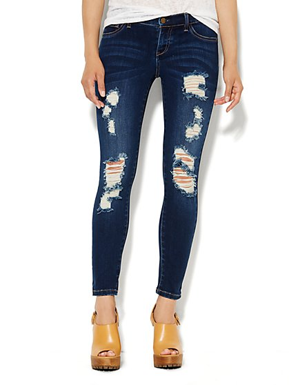 Soho Jeans Ankle Legging - Destroyed - Dark Tide Wash - New York & Company