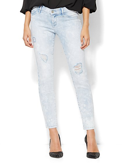 Soho Jeans Ankle Legging - Destroyed - Frozen Blue Wash  - New York & Company