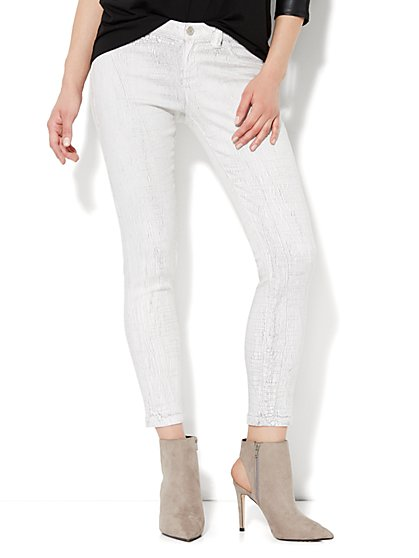 Soho Jeans - Ankle Legging - White Crackle Finish  - New York & Company