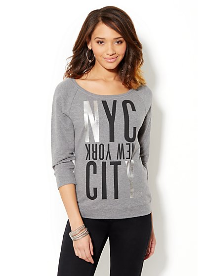 Soho Jeans - Black & Silver NYC Logo Sweatshirt  - New York & Company