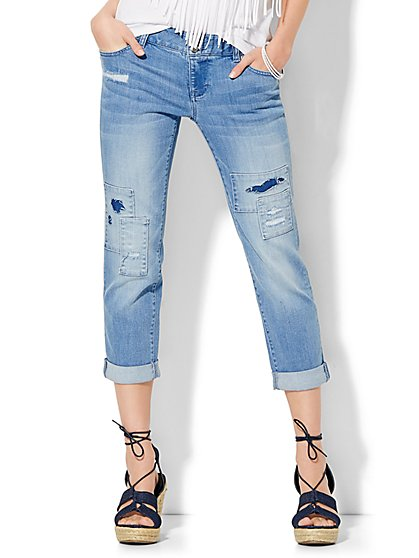 Soho Jeans Boyfriend Crop - Sanded Blue Wash - New York & Company