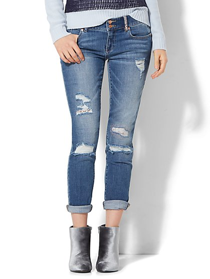 Soho Jeans - Boyfriend - Embellished Rip & Repair - Indigo Blue Wash - New York & Company