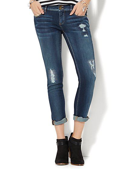 Soho Jeans - Boyfriend - Rip & Repair - Pure Ink Blue Wash - New York & Company