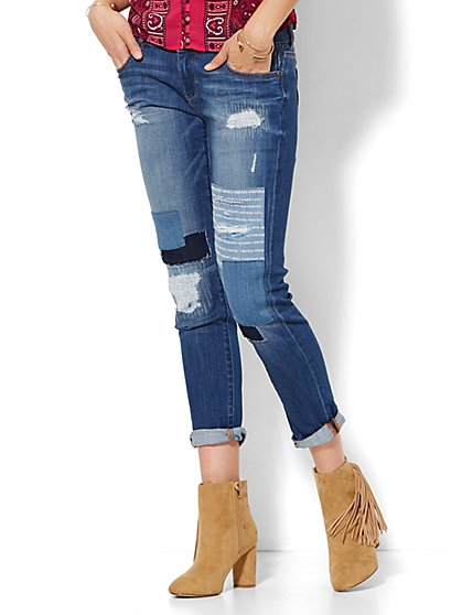 Soho Jeans - Boyfriend - Rip & Repair - Rockaway Blue Wash  - New York & Company