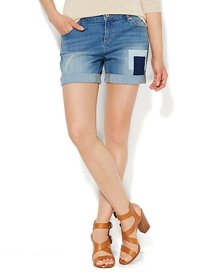 Soho Jeans Boyfriend Short - Wild Blue Wash  - New York & Company