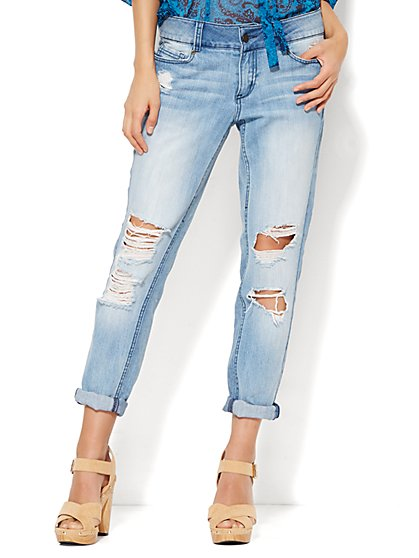 Soho Jeans - Boyfriend - Super Destroyed Indigo Blue Wash  - New York & Company
