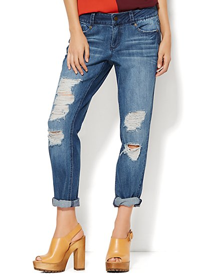 Soho Jeans - Boyfriend - Super Destroyed Indigo Cove Wash  - New York & Company