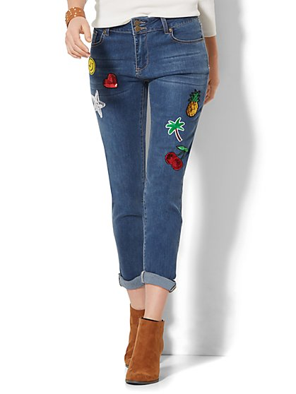 Soho Jeans -  Boyfriend with Patches - Goldstone Blue Wash  - New York & Company