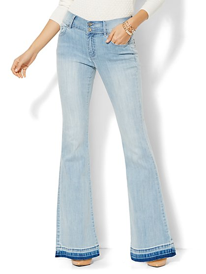 Soho Jeans - Braided High-Waist Flare - Diamond Blue Wash - Released Hem  - New York & Company