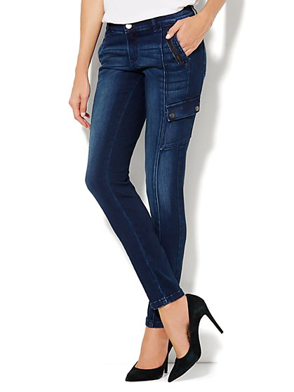 Soho Jeans Cargo Legging - New Moon Blue Wash - New York & Company