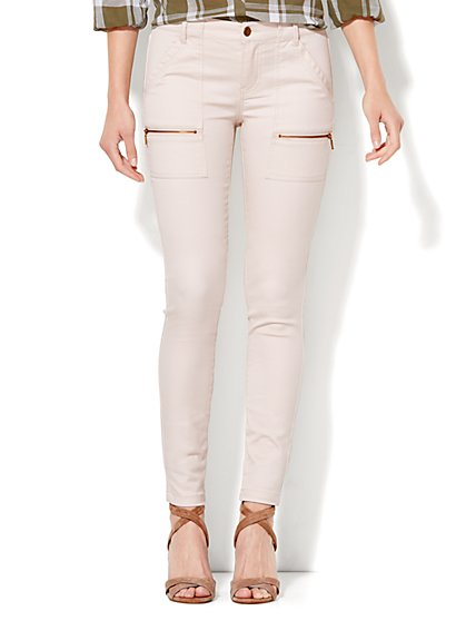 Soho Jeans - Cargo-Pocket SuperStretch Legging - Sand  - New York & Company